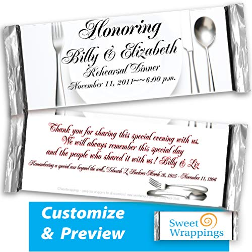 Personalized Candy Bar Wrappers | Wedding, Gift, Anniversary | Rehearsal Dinner | Party Favor, Personalized, Custom | (36 Wrapper Kit), Fits Hershey's 1.55oz Chocolate Candy