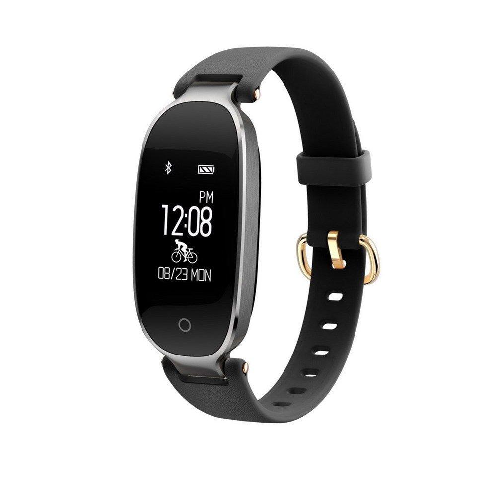 luckyruby Fitness Tracker防水Activity Tracker with歩数計ステップand Sleep Monitor Calorie Counterスマートブレスレットの女性  ブラック B07CLN19JB