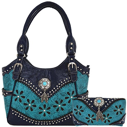 Western Tooled Leather Purse - Tooled Leather Laser Cut Concealed Carry Purse Feather Country Western Handbags Shoulder Bags Wallet Set (Turquoise Set)