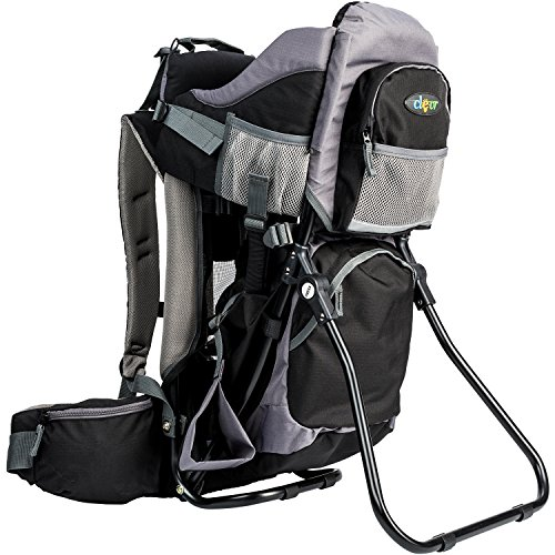 Clevr Canyonero Camping Baby Backpack Hiking Kid Toddler Child Carrier with Stand and Sun Shade Visor, Midnight Black | 1 Year Limited Warranty ()