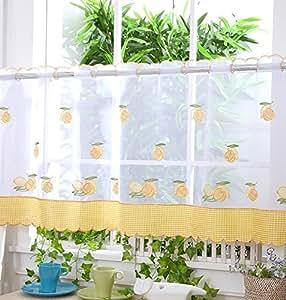 Panel de cortina para cocina con bordado de limones 45 - Ver cortinas para cocina ...