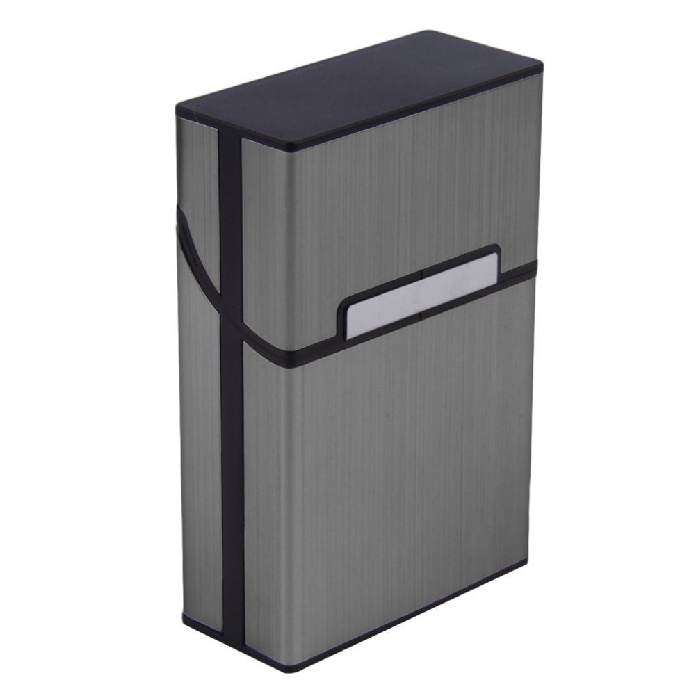 Brushed Aluminum Cigarette Case, Hard Box and Holder with Solid Magnetic Flip Top Closure (King Size) (Slate Grey)