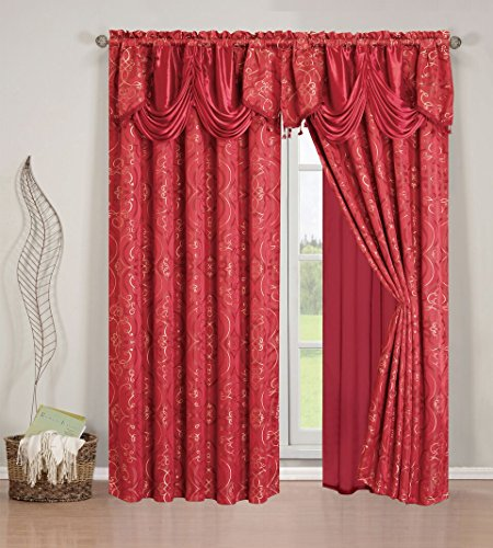 (Elegant Home Beautiful Window Embroidery Curtain Drapes All-in-One Set with Attached Valance & Sheer Backing for Living Room, Bedroom, Dining Room, and Sliding Doors - EHHAR (Burgundy))
