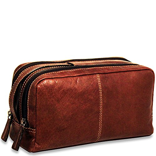 Jack Georges Voyager Collection Toiletry Bag in Brown (Jack Leather Georges Bag)