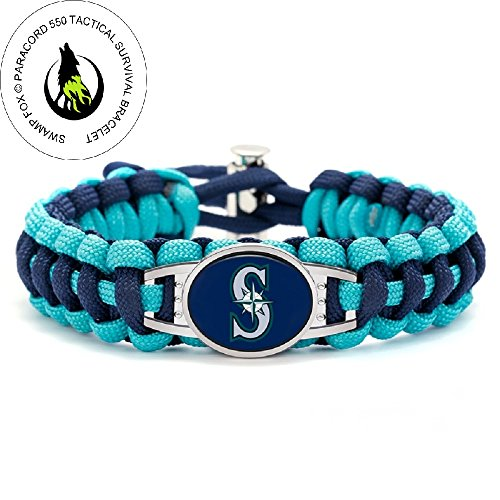 Swamp Fox Premium Style Seattle Mariners Baseball Team Adjustable Paracord Survival Bracelet