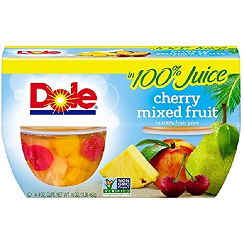 Dole Fruit Bowls, Cherry Mixed Fruit in 100% Juice, 4 Cups (Pack of (Dole Peaches)