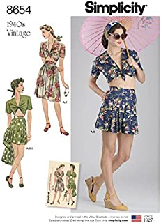product image for Simplicity Pattern 8654 Misses' Vintage Skirt, Shorts and Tie Top Size 12-20