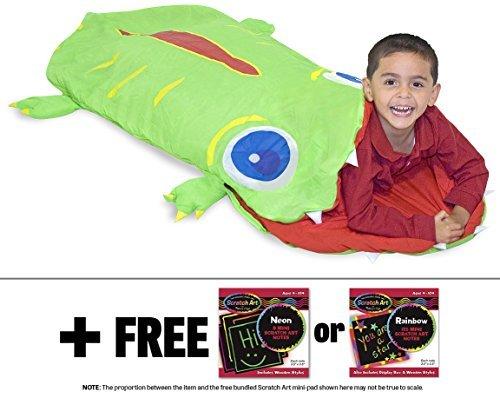 Augie Alligator Sleeping Bag  Sunny Patch Series   Free Melissa   Doug Scratch Art Mini Pad Bundle