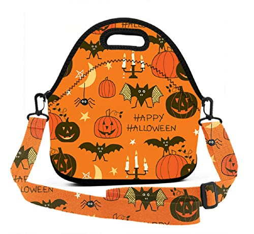 Lightweight Lunch Tote - Happy Halloween Party - Durable Washable Non-Toxic Lunch Bag Boxes Gift for Men Women Kids Adults(Adjustable 3D Straps+Zipper -