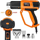 Heat Gun, Tacklife 1500W 158℉-1112℉(50℃ -600 ℃) Heavy Duty Hot Air Gun Kit Variable Temperature Control, 3 Air Flow rates and 4 Nozzles, with Overload Protection for Stripping Paint, Shrinking PVC | HGP74AC