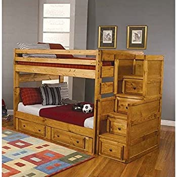 Amazon Com Full Size Bunk Bed With Stairway Chest In