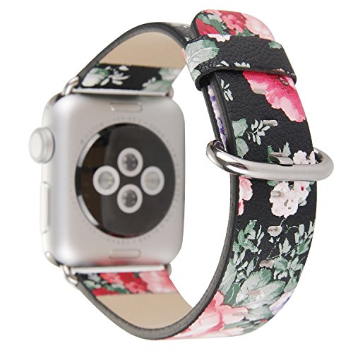 Amedve for Apple Watch Band 38mm Floral Print PU Leather Replacement Strap Wrist Watch Band for Apple Series 1 Series 2 Series 3, Sport & Edition (Floral Print Leather)