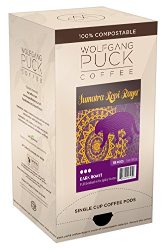 Wolfgang Puck Coffee, Sumatra Kopi Raya, Dark Roast, 18-Count Pods (Pack of 3)
