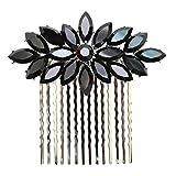Faship Black Rhinestone Crystal Floral Hair Comb