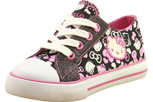 Hello Kitty Toddler Girl's Fashion Sneakers HK Lil Lacey Shoes 3G0002 (10 - Toddler, (Black Glitter Lacey Shoes)