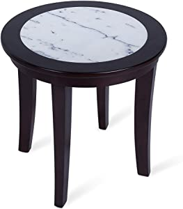 SLEEPLACE NATURAL Marble Solid Wood Round Coffee End Sofa Office Table, Basic Home Decor with Storage Shelf, White/Black