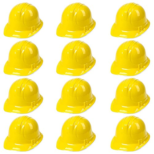 Yellow Construction Hats Toy For Kids Dress Up Theme Party Fun Pack | 12 - Pack -
