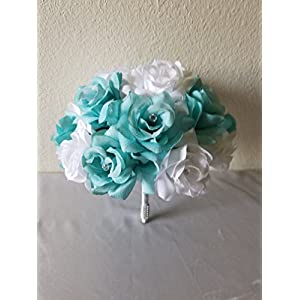 Aqua White Rhinestone Rose Bridal Wedding Bouquet & Boutonniere 11