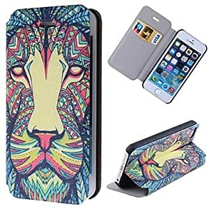 YXF Special Grains Lion Clear Pattern PU Full Body Case with Card Slot for iPhone 5/5S
