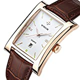 Fashion Leather Strap Rectangular Calendar Quartz Wristwatch For Men,Brown