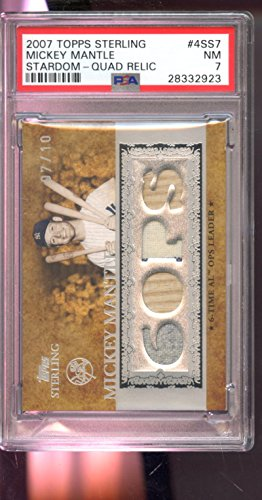 2007 Topps Sterling Stardom Mickey Mantle Game-Used Jersey Bat 7/10 6 Ops Quad Relic Graded Card PSA 7