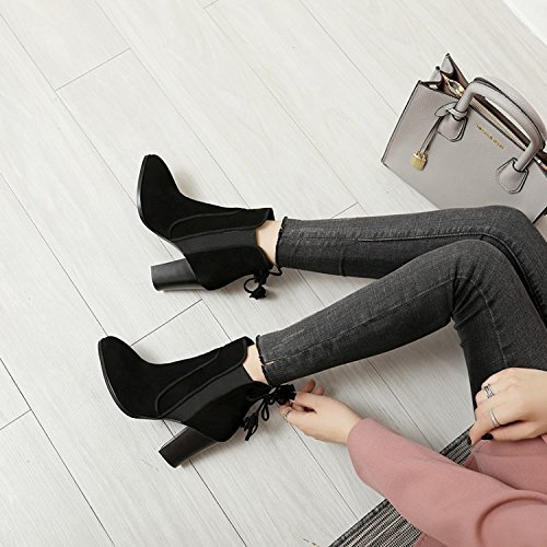 KHSKX-High-Heeled Boots Winter Shoes New Korean Fashion All-Match With Velvet Suede Heels Warm Crude Thirty-five lzFxYfV