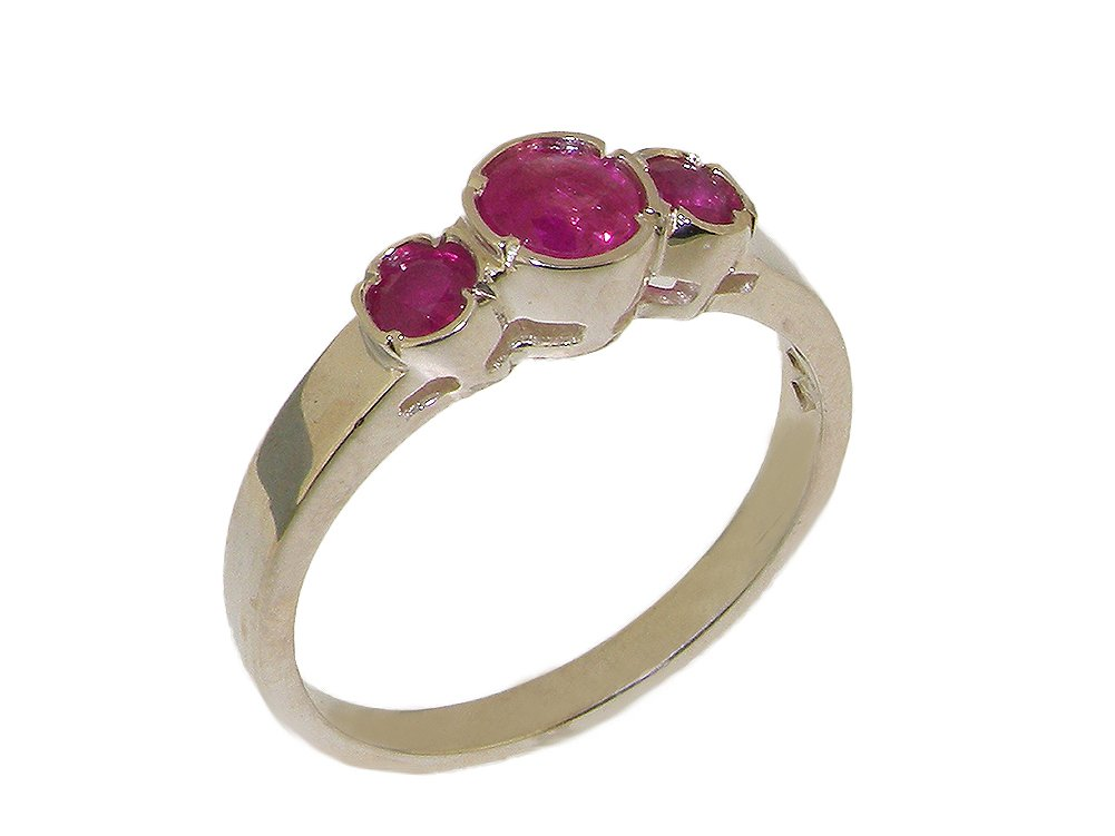 925 Sterling Silver Real Genuine Ruby Womens Trilogy Anniversary Ring - Size 8