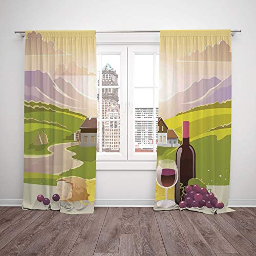 2 Panel Set Satin Window Drapes Kitchen Curtains,Winery Decor Wine Cheese and Bread with Mountain Landscape in French Rurals Pastoral Scenery Green Purple Cream,for Bedroom Living Room Dorm Kitchen Ca