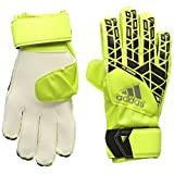 adidas Performance Ace Fingersave Junior Goalie Glove, Solar Yellow/Black/Onix Grey, Size 5