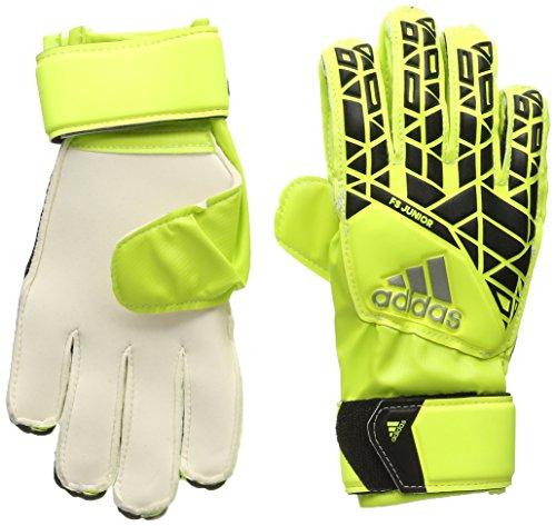 adidas Performance Ace Fingersave Junior Goalie Glove, Solar Yellow/Black/Onix Grey, (Soccer Goalie Goalkeeper Gloves)