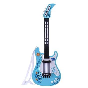 Foxom Guitarra Electrica Niños - Infantil Guitarra Rock Guitarra Juguetes Sin Cuerdas - Instrumento Musical para Niño y Niña de 3 años + (Azul): Amazon.es: ...