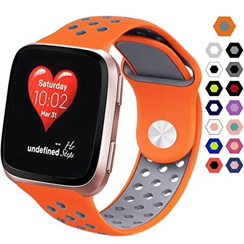 KingWo Fitbit Versa Band, Silicone Sport Band with Ventilation Holes Replacement Straps for Fitbit Versa Smartwatch (Orange)