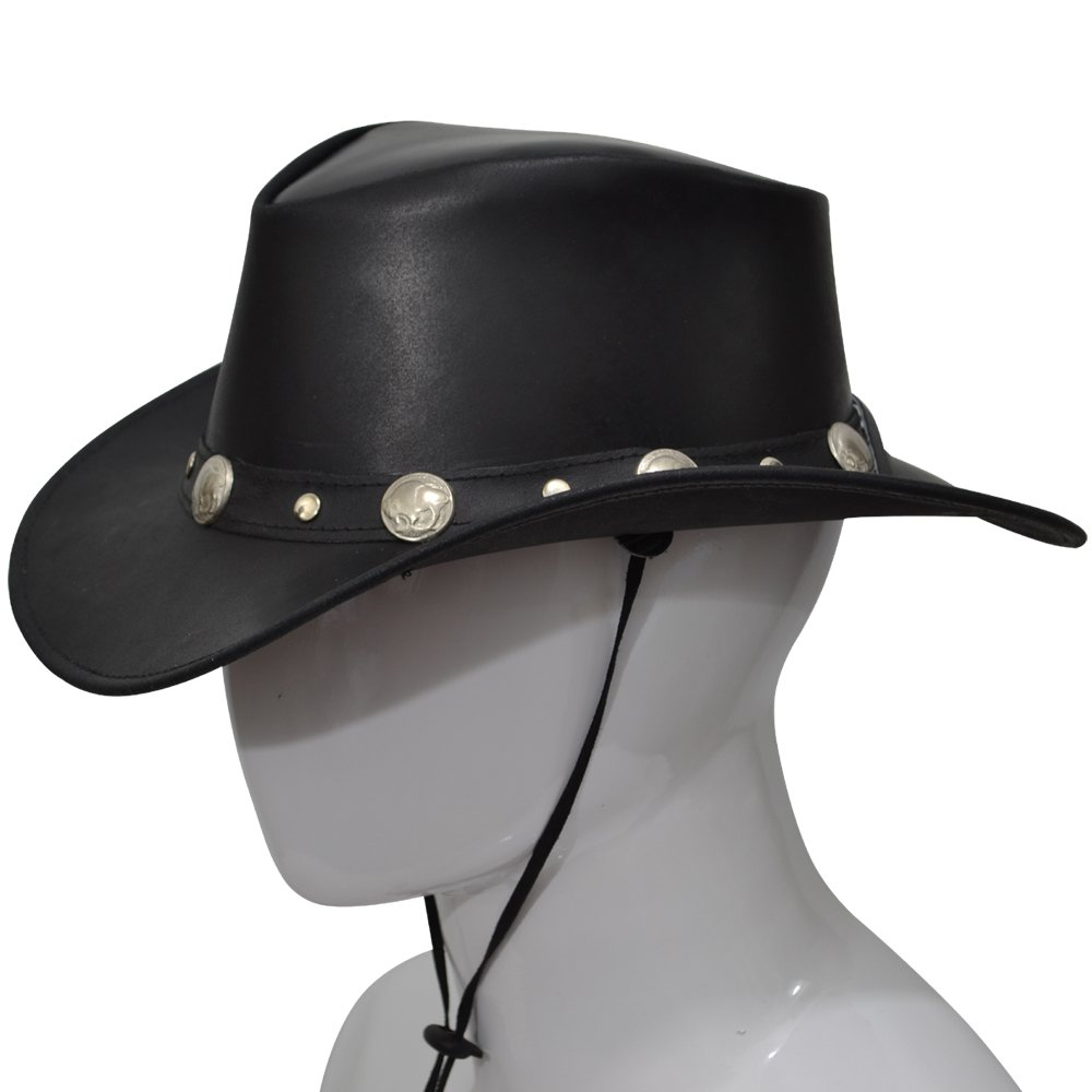 d748e2bd911569 AQWA Western Style Leather COWBOY HAT Bull Stud Bush Conchos Hats Band  Chinstrap: Amazon.co.uk: Sports & Outdoors