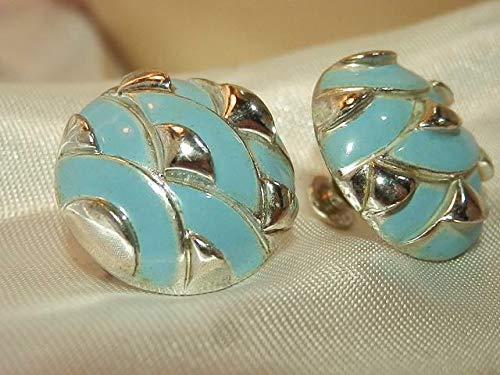 Coro Pale Blue Dragon Scale Vintage 1950's Screw Back Earrings PU-3434