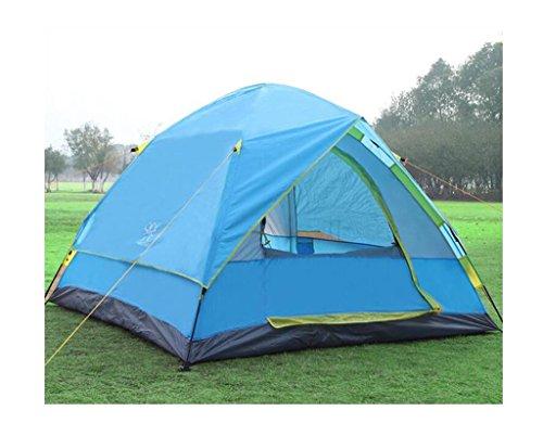 おとなしい熱心な鷲屋外のキャンプテント防水自動倍速オープンキャンプ旅行登山3-4人 (色 : 青, サイズ さいず : 4KG)