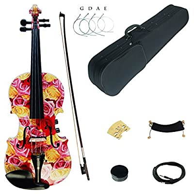 Kinglos 4/4 Colored Solid Wood Acoustic/Electric Violin Kit with Ebony Fittings Full Size