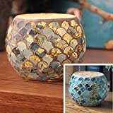 Cylinder Fish Scale Floral Mosaic Glass Led Candle Holders Handmade Votive Tealight Candleholders Flameless Battery Rustic Candlesticks Candle Lamps for Romantic Wedding Home Party Decoration Bar Blue