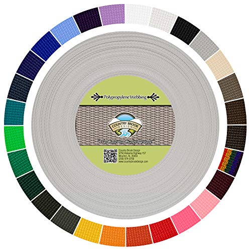 - Country Brook Design | Polypropylene Webbing (Silver, 25 Yards, 1 Inch)
