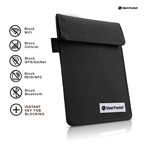 Silent Pocket Key FOB Guard Protector for Wireless Car Keys - RFID Blocking Faraday Cage (Black - Nfc Pocket