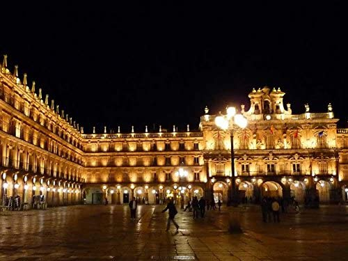 Plaza alcalde de Salamanca, diseño de la bandera de España - impresión sobre lienzo (32 x 60,96 cm, sin bastidor): Amazon.es: Hogar