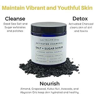 Natural Activated Charcoal Body & Face Scrub. Exfoliating Dead Sea Salt & Sugar Scrub. Deep Cleansing Pore Minimizer. Anti Cellulite, Acne, Blackhead, Scars, Wrinkle Treatment.