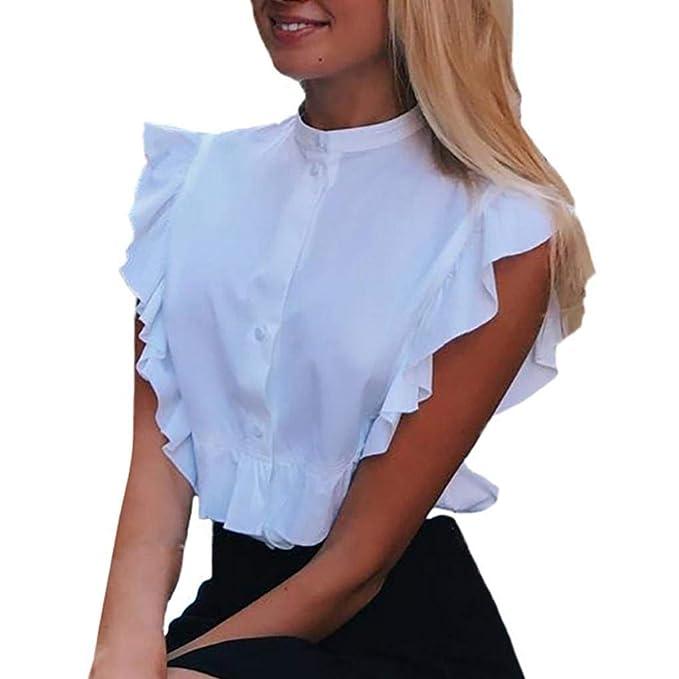 Blusa Elegante Mujer Moda Camisa Verano Stand Cuello Sin Mangas Volantes Un Solo Pecho Especial Estilo Shirt Slim Fit Color Sólido Hipster Moda Joven ...