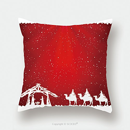 Custom Satin Pillowcase Protector Christian Christmas Scene On Red Background Illustration 324278123 Pillow Case Covers Decorative by chaoran