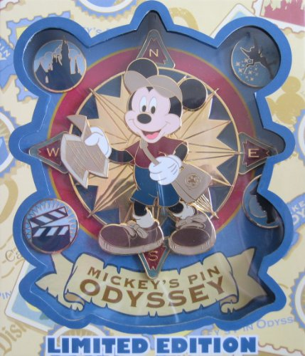 (Disney MICKEY MOUSE Jumbo Collectible PIN SET: MICKEY'S PIN ODYSSEY Limited Edition 250 Boxed Set: Explorer Mickey Plus 4 Pins Set)