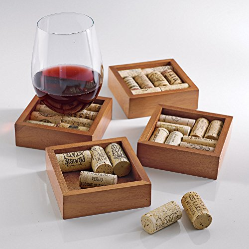 Wine Enthusiast Wine Cork Coasters Kit Set of 4