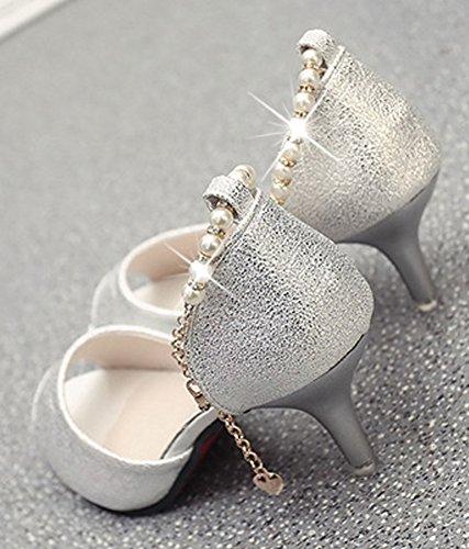 Minetom Women Elegant Fish Mouth Thin High Heels Sandals Rhinestones Pearl Beads Ankle Strap Mid Heels Shoes Stilettos Silver yn4cb5amb1