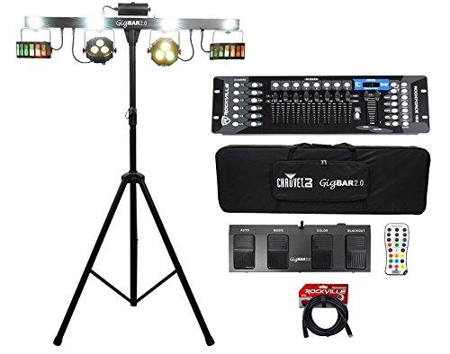 Chauvet GigBar 2.0 Light FX Bar w/Tripod+Footswitch+Remote+Bag+DMX Controller (Channel 4 Chase Bar)