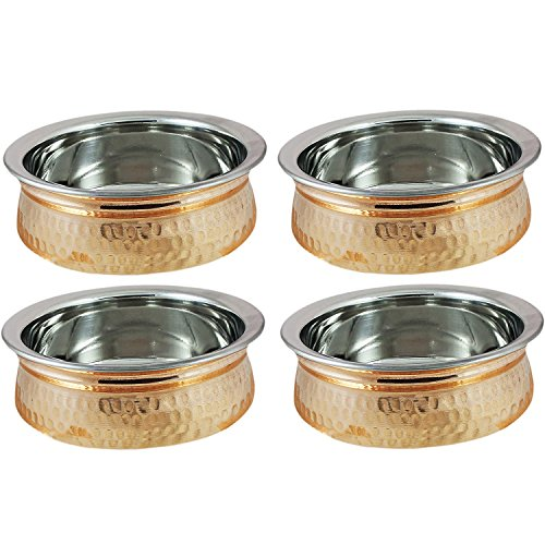 Copper Stainless Steel Serveware Bowls Set - Serving Bowls for Cereal, Soup, Cooked Food Party Serveware, Set of 4 (23.7-Ounce) ()