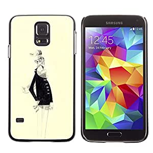 LECELL--Funda protectora / Cubierta / Piel For Samsung Galaxy S5 SM-G900 -- Old Man White Beard Portrait Art Drawing --