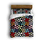 Sunshine Day 4 Piece Girls Bedding Sets Colorful Triangle Geometric Abstract Art Prints Modern Style Bed Sets For Kids Bed Comforter Sets Multi Color Full Bedding Set